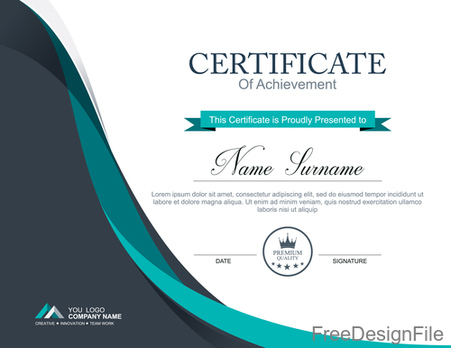 Company certificate abstract template vectors 06