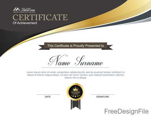 Company certificate abstract template vectors 08