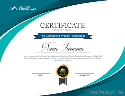 Company certificate abstract template vectors 09