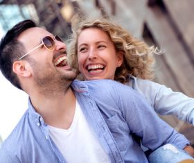 Couple to stroll around the streets Stock Photo 08
