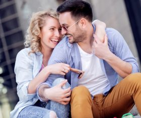 Couple to stroll around the streets Stock Photo 10