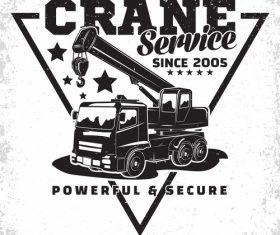 Crane service vintage emblem vector 01