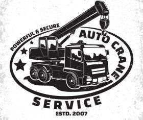 Crane service vintage emblem vector 02