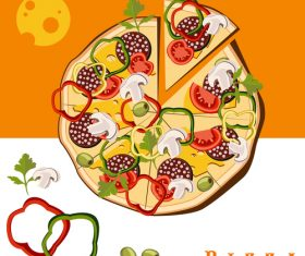 Creative pizza illustration vectors