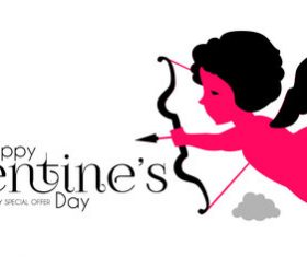 Cupid with Valentines special offer background vector