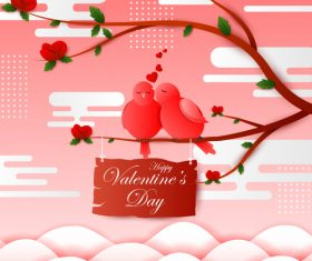 Cute birds with valentines card vector material 01