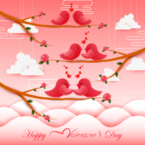 Cute birds with valentines card vector material 02