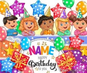 Cute kids birthday card vectors