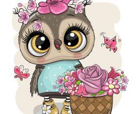 Cute owl girl cartoon vectors 01