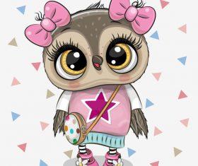 Cute owl girl cartoon vectors 02