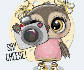 Cute owl girl cartoon vectors 03