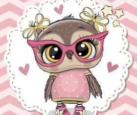 Cute owl girl cartoon vectors 04