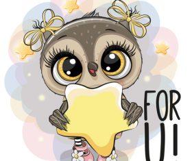 Cute owl girl cartoon vectors 06