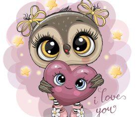 Cute owl girl cartoon vectors 07