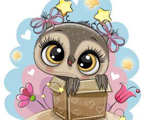 Cute owl girl cartoon vectors 08