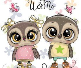 Cute owl girl cartoon vectors 09