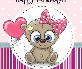 Cute teddy bear birthday card vector