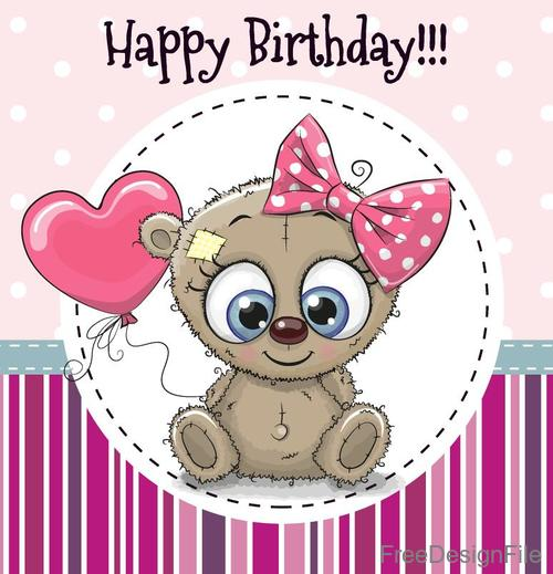 Cute Teddy Bear Birthday Card Vector Free Download