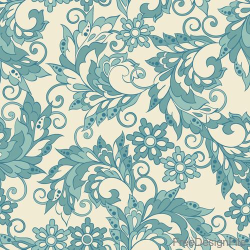 Decor retro floral pattern vector material 01
