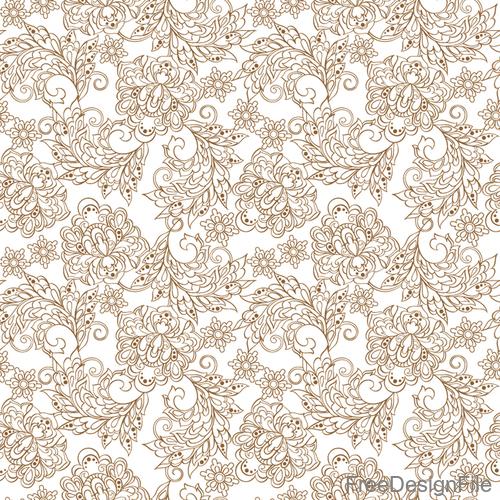 Decor retro floral pattern vector material 02