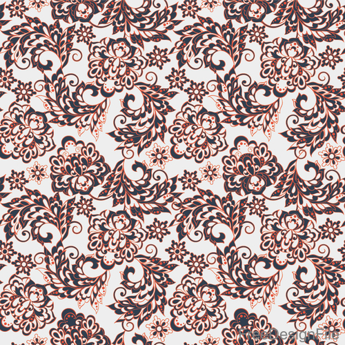 Decor retro floral pattern vector material 03