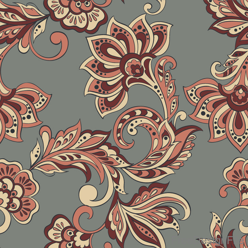 Decor retro floral pattern vector material 07