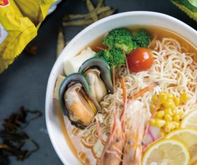 Delicious and delicious instant noodles Stock Photo 02