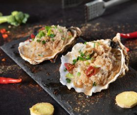 Delicious barbecue scallop fans Stock Photo 03