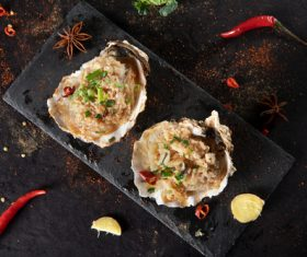 Delicious barbecue scallop fans Stock Photo 04