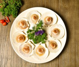 Delicious barbecue scallop fans Stock Photo 08