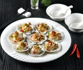 Delicious barbecue scallop fans Stock Photo 09