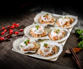 Delicious barbecue scallop fans Stock Photo 10