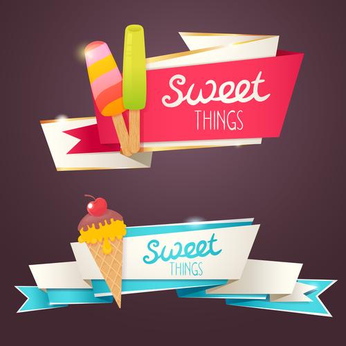 Dessert banner ice cream vector material