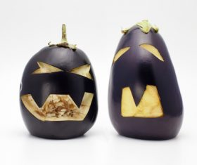 Eggplant carving Stock Photo