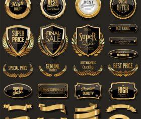 Elegant black and gold badges and labels design vector set