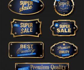 Elegant blue and gold badges and labels design vector set