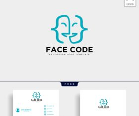 Face code logo and business card template vector