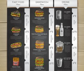 Fast food menu price list vector design 02