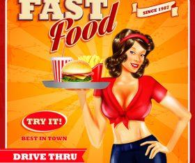Fast food poster design waitress vector