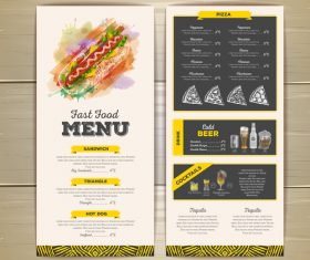 Fast food sketch menu template vector 01