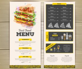 Fast food sketch menu template vector 02
