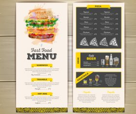 Fast food sketch menu template vector 03