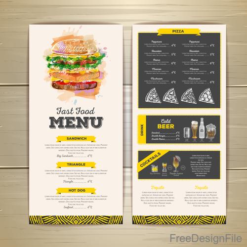 Fast food sketch menu template vector 03