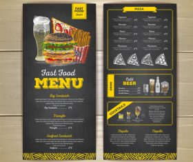 Fast food sketch menu template vector 04