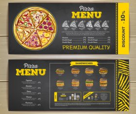 Fast food sketch menu template vector 06