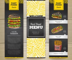 Fast food sketch menu template vector 07