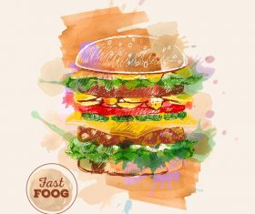 Fast food watercolor hand drawn vectors 01