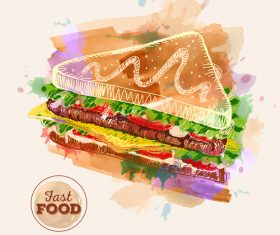 Fast food watercolor hand drawn vectors 02