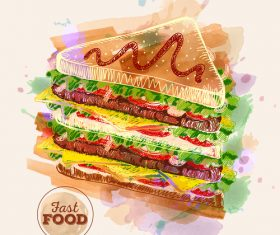 Fast food watercolor hand drawn vectors 03