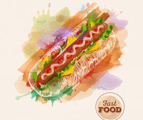 Fast food watercolor hand drawn vectors 04